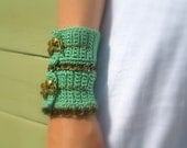 Sage Green Wide Crochet Cuff Bracelet, Brass Floral Toggle Clasp, Brass Chain