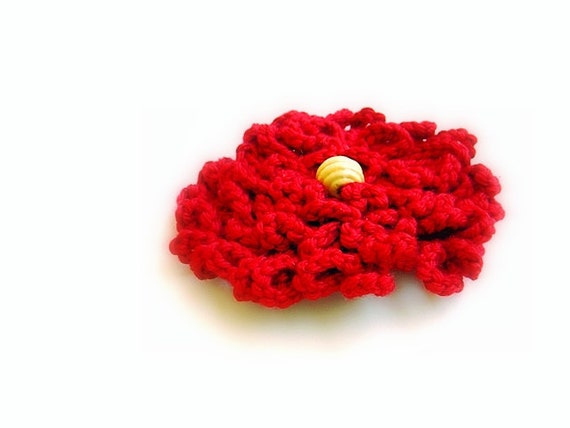Red Crochet Flower Brooch for Dress, Hat, Top, Felt Backing, Nickel Bar Pin