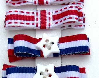 Tuxedo Bow Hair Clippies in 4th of July Colors Combination with Star sewing button Baby Infant Hair Clip