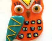 Fused Glass Owl with Hanger - Ms. Orange Girl with Gold Triangle
