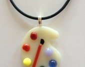Jewlery for the Artist Fused Glass Artist Palette Pendant