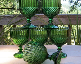 Six Compotes in Emerald Green - Wedding Centerpieces - Oak Hill Vintage