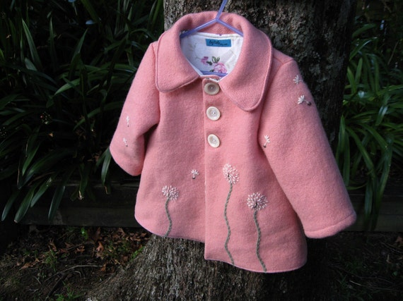 Dandelion Coat - Hand Embroidered in wool RESERVED FOR JENN