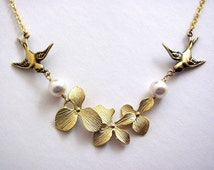 Bridal Gold Birds Orchids and Pearls Garland Necklace- bridal bridesmaids jewelry gifts, original design by ACutieChick.