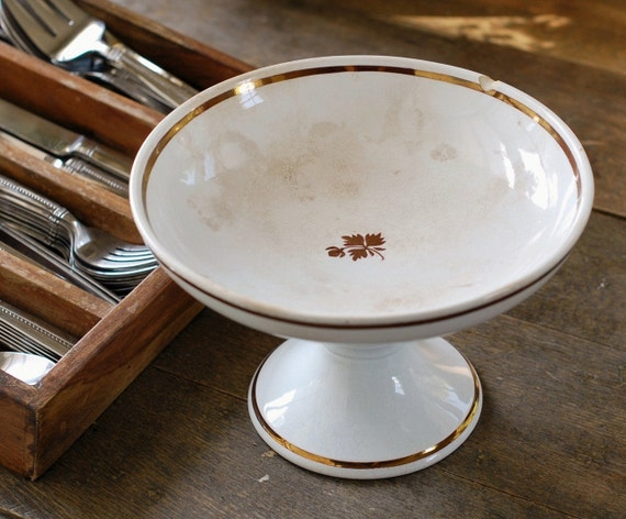 Antique Tea Leaf Ironstone Compote - Pedestal Bowl - Anthony Shaw, England (Chipped)