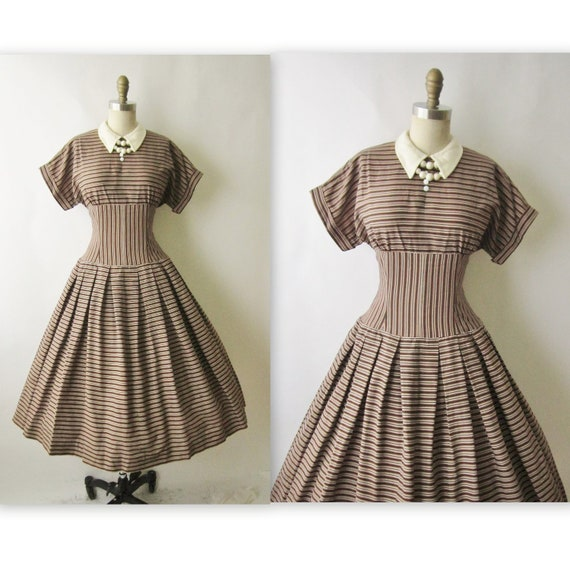 50's Striped Dress // Vintage 1950's Brown Striped Cotton Full Casual Mad Men Dress M