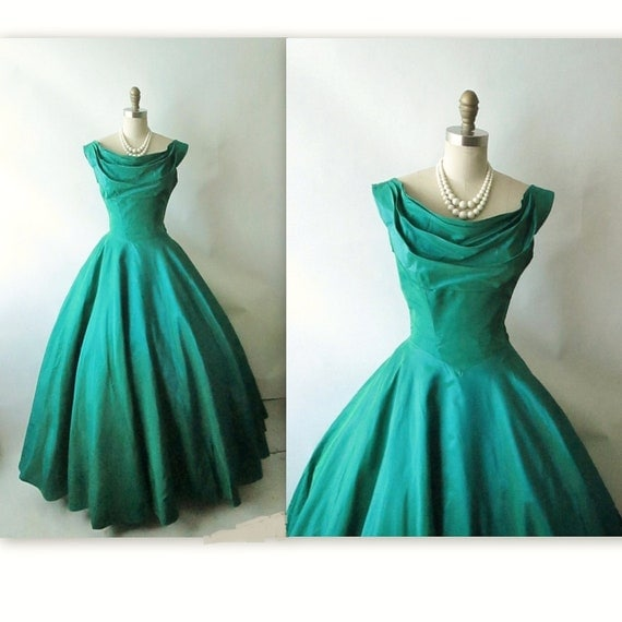 50's Evening Gown // Vintage 1950's Emerald Jade Taffeta Holiday Cocktail Party New Look Dress XS