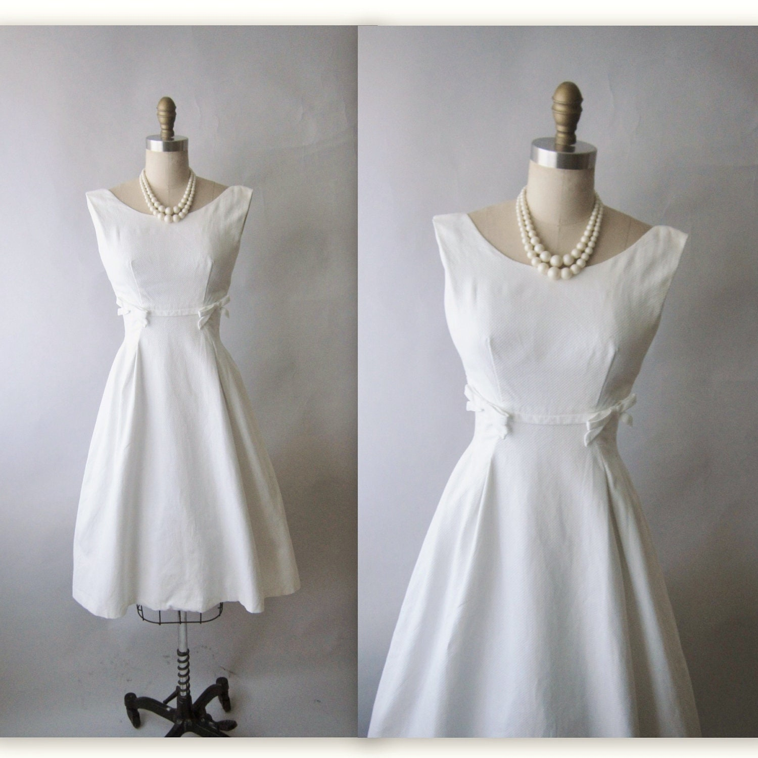 50 S Designer Wedding Dress Vintage 1950 S White