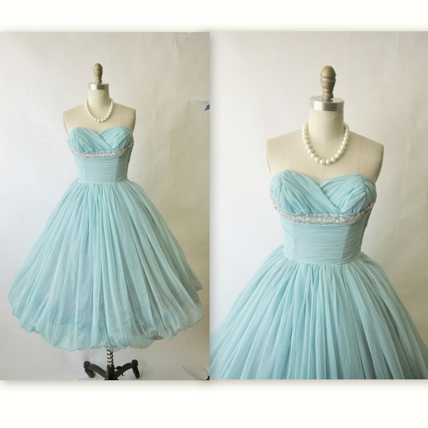 50 S Prom Dress Vintage 1950 S Layered Tulle Halter