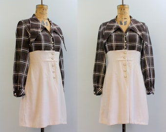 1970s mini dress / 70s plaid dress  / brown and white dress small