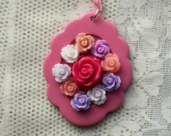 SALE - Fairy Kei Rose Necklace - Sanrio inspired