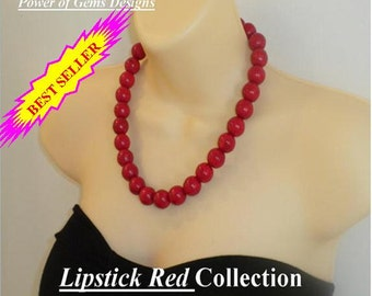 SALE_LIPSTICK RED necklace-statement, chunky, gift idea, big bold, round, best seller, large natural stones, red turquoise,