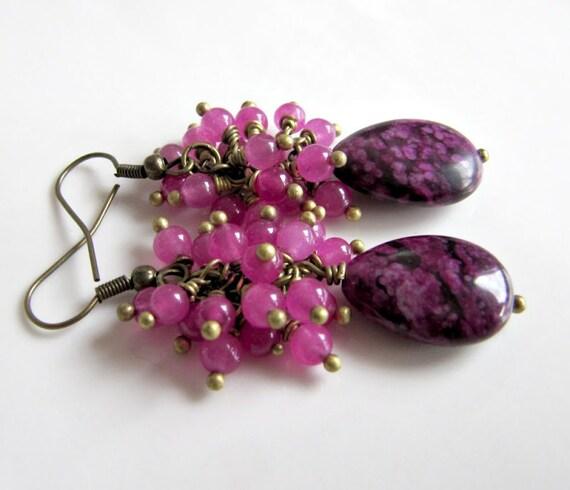 Agate cluster earrings, jewelry, dangle earrings, drop earrings, beadwork, purple jewelry