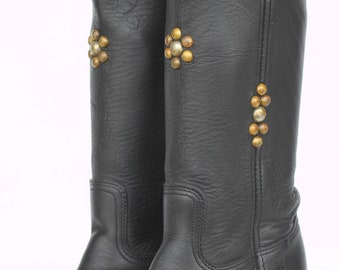Mint studded boho leather Frye campus riding boots 6.5 M Made in USA Brand new soles and heel caps.