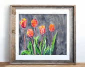 Watercolor Painting - All in a Row - Orange Tulips - Still Life Floral Art Print