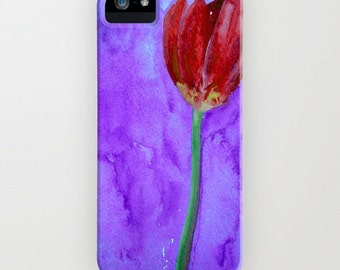 Floral Phone Case - Red Tulip Painting Brazen Art Cell Phone Cover - Designer iPhone Samsung Case