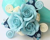Stylish Brooch / Corsage With Tiffany Blue Roses And Cream Blossom Flowers