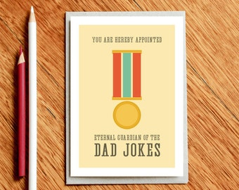 Father's Day Card, Card for Dad, Dad Birthday Card, Guardian of the Dad Jokes, Xmas Dad Card, Funny Card for Dad, Funny Dad Card, Dad Gift