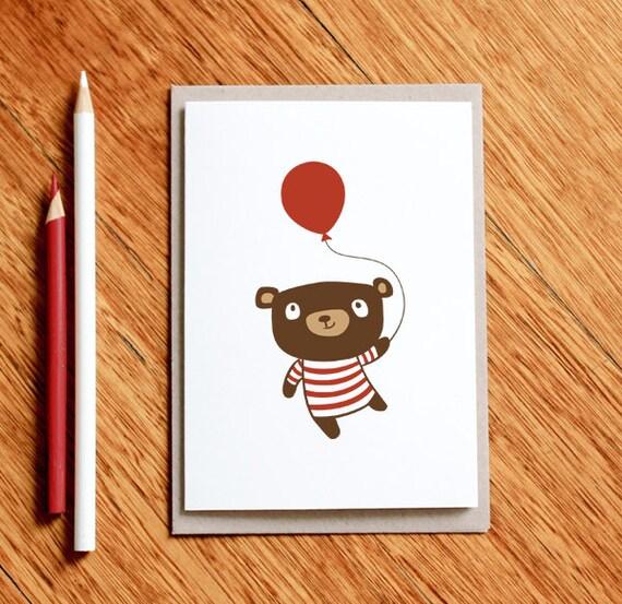 Birthday Bear - Greeting Card / Christmas Card