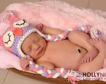 Pink and Purple Owl Hat Crochet Sleepy Owl hat Newborn to Toddler Photography Prop