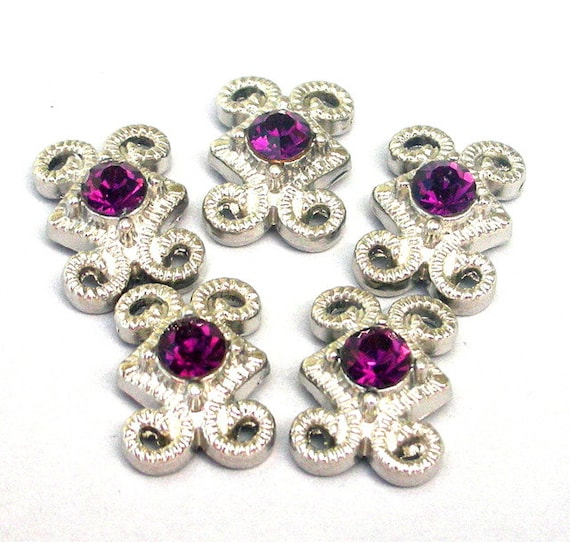 3 purple 2 hole slider beads, amethyst and silver spacer beads