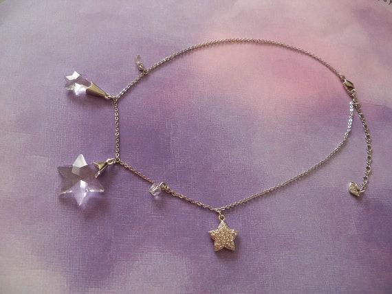 Vintage Swarovski Necklace, Charm Necklace, Snowflakes, Star of David, Holiday Jewelry, Hanukkah