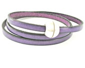 Purple triple wrapped leather bracelet with sphere magnetic clasp