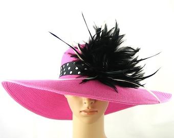 Hot Pink Kentucky Derby Hat with Polka dots head band,Wide Brim Hat ,women's Derby Hat, formal hat