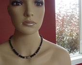 Sterling Silver  Swarovski Black Pearl, Crystal Necklace