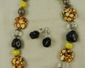 Turquoise Mosaic Necklace Magnesite Yellow and Black