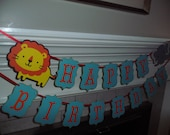Happy Birthday BANNER - modern banner, two tiered banner, lion, elephant, safari birthday party, you pick color and theme