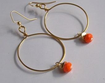 Hammered Hoops, Orange Czech Glass Beads, Beaded Earrings, Etsy Jewelry, Jewelry, Orange, Fall, Gift, Etsy, Gold Hoops