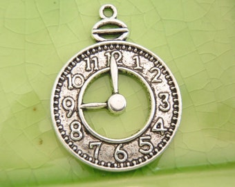 5 silver clock charms pendants Alice in Wonderland steampunk pocket watch hands round time late hands 32mm x 24mm - C0751-5