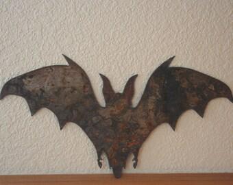 Rustic Bat In Flight  Gothic Vampire Recycled Steel