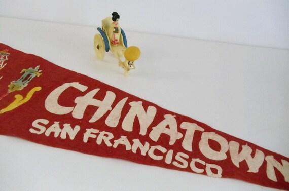 Vintage Chinatown Pennant AND Vintage Toy Plastic Geisha in Rickshaw - San Francisco - Hard to Find