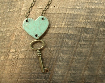 Key to My Heart Necklace- Mint Green