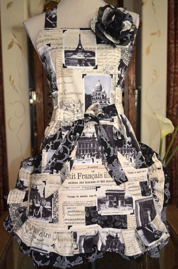 Paris French Script Print - April in Paris - Womens Full Apron With Black Floral Ruffle