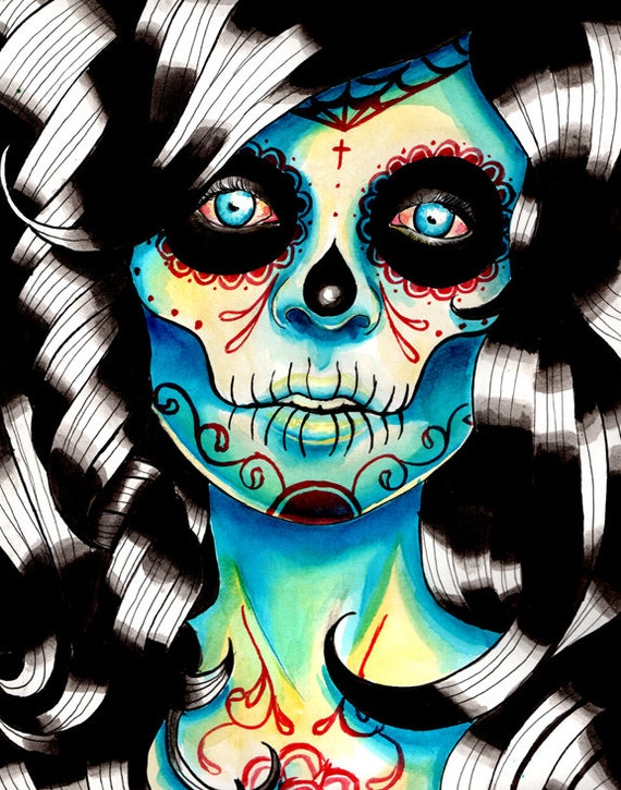 Sugar Skull Girl Signed Art Print 5x7, 8x10, or apprx 11x14 inch - Dia De Los Muertos Day of the Dead Girl - All Shook Up - Tattoo Design