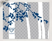 Personalized Wedding Anniversary Tree with your initials // Wall Art Print // grey and navy or pick your own colors // Wedding Art Print