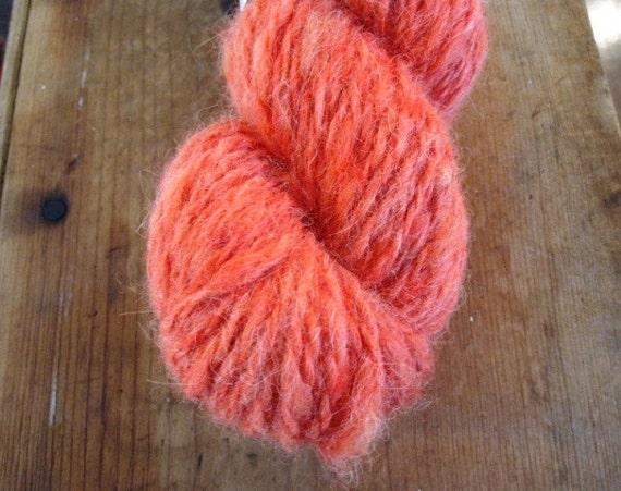 CORAL Handspun 2 Ply Skein Alpaca Wool Yarn 97 Yards Orange Red