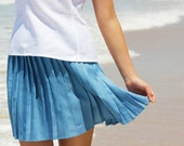 Blue Pleated Accordion Linen Skirt