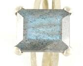 Labradorite Engagement Ring , Labradorite Sterling Silver Ring , Emerald Cut Ring , Faceted Gemstone Ring , Labradorite Ring - MADE TO ORDER