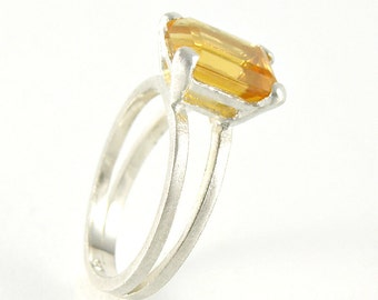 Citrine Ring, Citrine Engagement Ring in Sterling Silver, Split Band Ring Solitaire Engagement Ring Emerald Cut Ring - MADE TO ORDER