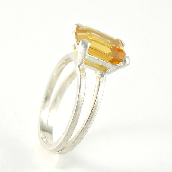 citrine ring citrine engagement ring in sterling silver