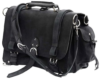 Leather Briefcase Messenger Bag - Made in USA, X-LARGE - Charcoal Black Distressed, Rugged