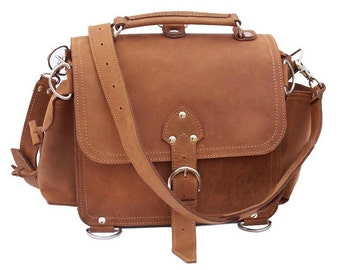 Leather Satchel Messenger Bag, Purse MEDIUM - Buckskin Tan Distressed, Rugged