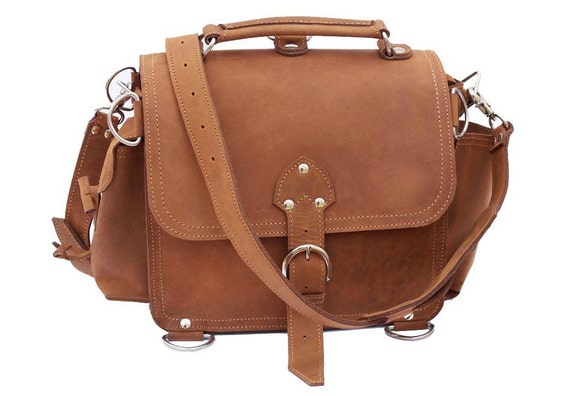 Leather Satchel Messenger Bag, Purse MEDIUM - Buckskin Tan Distressed, Rugged