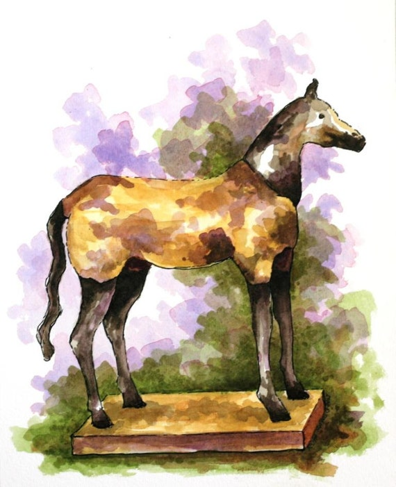 "Primitive watercolor horse original 7.5"" x 10"" art pen and ink equine animal art gold green purple home decor"