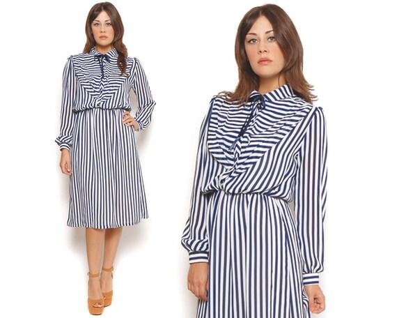 80s Secretary Dress Navy Blue White Stripes Sheer Shirt Dress Ascot Bib Long Sleeve Midi Dress / Preppy Hipster / Size L Large