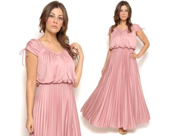 70s Maxi Dress Pastel Blush Pink Boho Drape Pleated Goddess Gown 1970s Disco Ethereal V Neck Billowy / Size M Medium